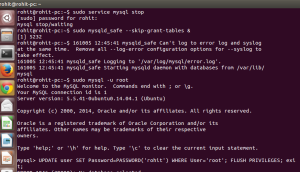How to reset/change MySql root password command line in ubuntu linux