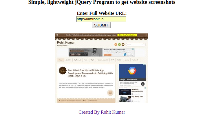 How To Take Screenshot Of Website From Url Using Jquery Iamrohit In