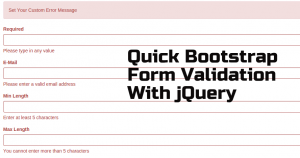 Quick Bootstrap Form Validation With jQuery validator js