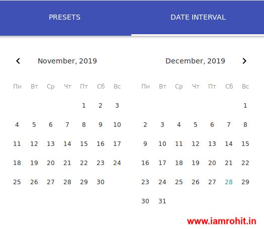 Angular Date Rangepicker component